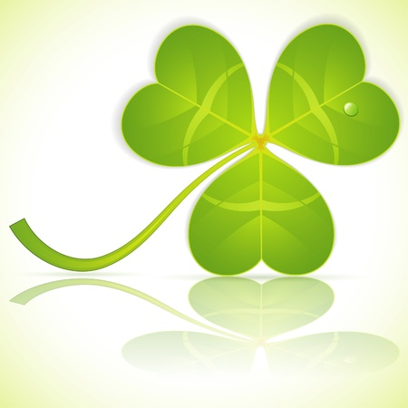 Stylized Leaf Clover on St. Patrick's Day with Reflection, vector illustration Stock Vector - 12490305