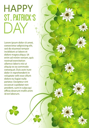 leafed: St. Patricks Day Frame with Clover Leaf and Flower, vector illustration