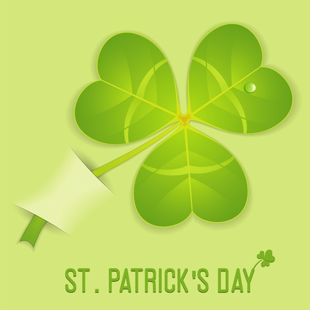goodluck: Stylized Leaf Clover on St. Patricks Day in Pocket, vector illustration