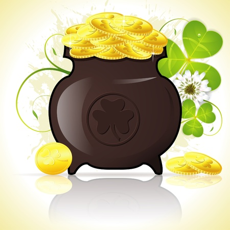 golden pot: Grunge St. Patricks Day Background with Cauldron, Coins and Clover Leaf, vector illustration Illustration