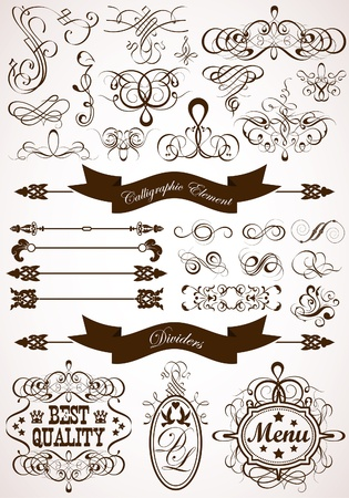 Collect Calligraphic and Floral Design Element, Vintage Dividers and Frames, vector illustration Vector