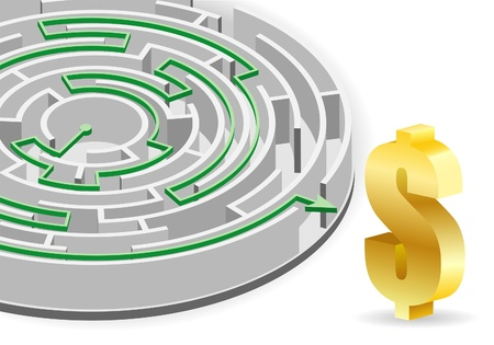 Concept - Success in Business. Circular Labyrinth with the solution and Dollar Sign, vector illustration. Vector