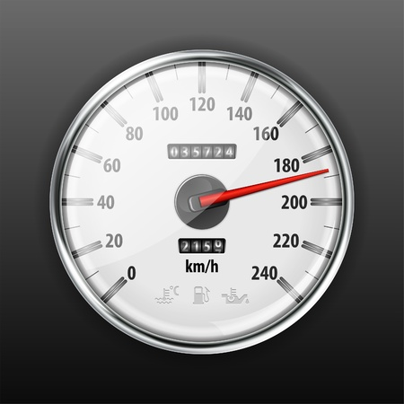 compteur de vitesse: Indicateur de vitesse de voitures détaillée avec des icônes d'avertissement, illustration vectorielle