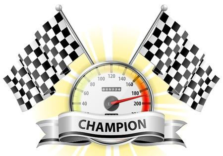 chilometro: Concept - Winner, Champion. Car Speedometer dettagliata con bandiere e nastro, illustrazione vettoriale