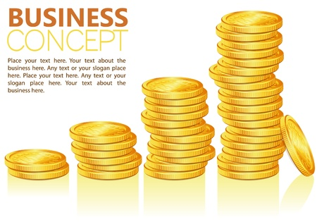 stockmarket chart: Concept Success in Business with Coins and Graph, template for design, vector illustration Illustration