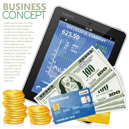 Financial Concept with Tablet PC (Stock Market Application), Dollar Bills, Credit Cards and Coins, vector Stock Vector - 12490370