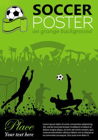 campo di calcio: Poster di calcio con giocatori e tifosi su sfondo grunge, elemento per la progettazione