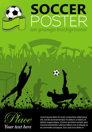 man in field: Soccer Poster with Players and Fans on grunge background, element for design
