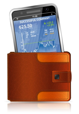Financial Concept - Leather Wallet with Smart Phone (Stock Market Application) Vector