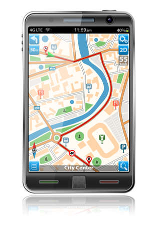 touch screen interface: Smart Phones with GPS Navigation Application, isolated on white background