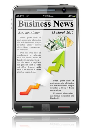 Business News on Smart Phone, isolated on white background Stock Vector - 12799469
