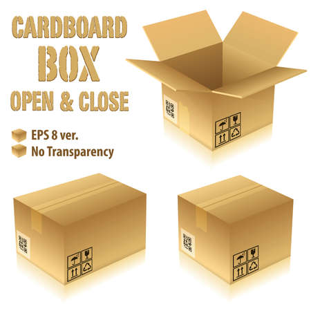 package: Open and Closed Cardboard Boxes with Icons, vector illustration