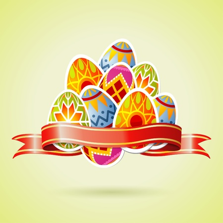 Easter Background with Eggs and Ribbon Vector