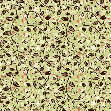 Flower seamless pattern with ladybug, element for design Vector