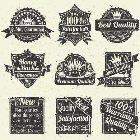 Collection Grunge Best Quality and Guarantee Labels, vintage design, illustration Vector