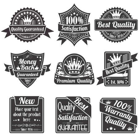 Collection Best Quality and Guarantee Labels, isolated on white background, vintage design Vector