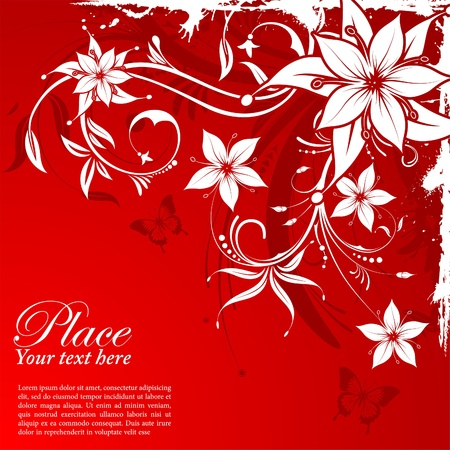 Grunge decorative floral frame with butterfly, element for design, illustration Vector
