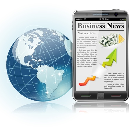 business news: Global Bysiness Concept. Business News on Smart Phone with Earth and communication lines