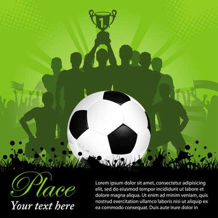 voetbal silhouet: Voetbal Poster met Winning Team van de Voetbal van de voetbal in zijn handen en Fans, illustratie Stock Illustratie