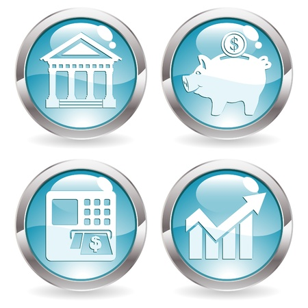 Set Buttons with Financial Business Icon - Bank, ATM, Piggy Bank and Graph Symbol, vector illustration Stock Vector - 13160504