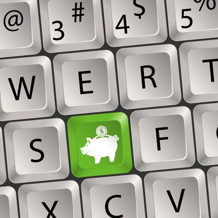 Computer keyboard with a key with a piggy bank, vector illustration Vector
