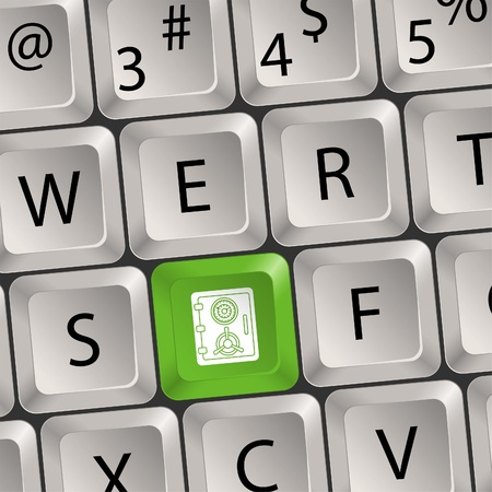 Computer keyboard with a key with a Safe, vector illustration Stock Vector - 13160503