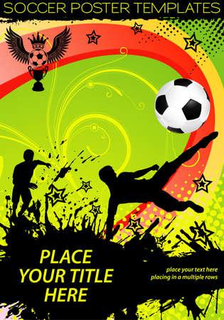 sparare: Poster di calcio con giocatori con palla su sfondo grunge, elemento di design, illustrazione vettoriale Vettoriali