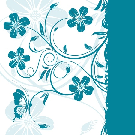 scroll border: Grunge floral frame with butterfly, element for design