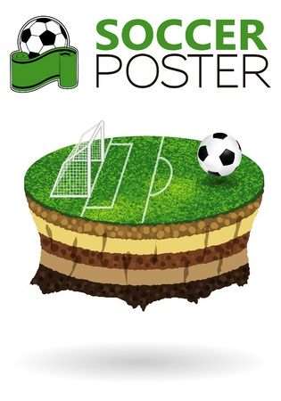 Soccer Poster with Field on the planet flying Stock Vector - 13319562