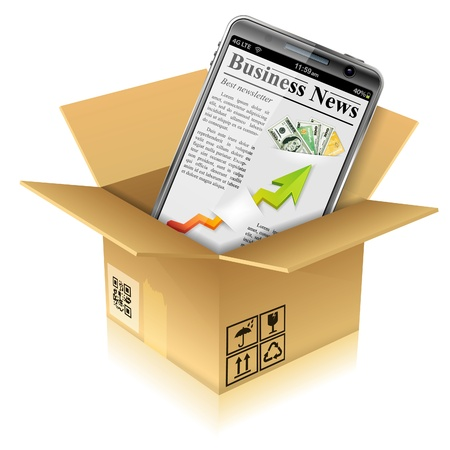 touchphone: Open Cardboard Box with Business News on Smart Phone, vector illustration Illustration