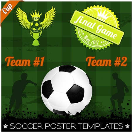Soccer Poster with Players with Ball on grunge background, element for design, vector illustration Stock Vector - 13357216