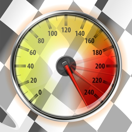 kilometer: Concept - Winner, Champion. Detailed Car Speedometer with Maximum Speed and Flag, vector illustration Illustration
