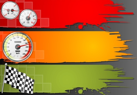 rally: Three Speed Frame with Detailed Car Speedometer, Tachometer, Fuel and Temperature Gauges and Flag, vector