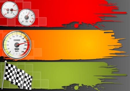 compteur de vitesse: Trois cadre de vitesse avec compteur de vitesse de voiture détaillée, Compte-tours, jauges de carburant et de température et d'un drapeau, vecteur