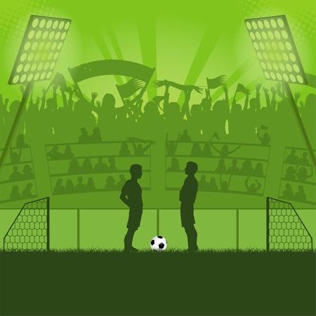 voetbal silhouet: Voetbalstadion met voetballers en fans illustratie