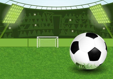 stade de football: Stade de football avec ballon de soccer et de l'illustration fans