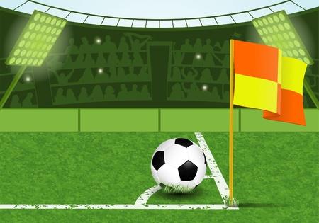 corner flag: Football Stadium with Ball, Marking, Corner Flag and Fans, illustration