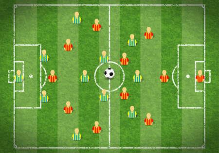 field  soccer: Campo de f�tbol con la marca, el jugador de f�tbol y el Icono de Pelota, la ilustraci�n Vectores