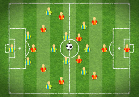 soccer fields: Football Field with Marking, Icon Soccer Player and Ball, illustration