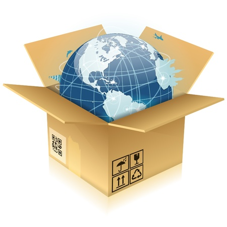 Concept Global Business - Open Cardboard Box with Earth, illustration Stock Vector - 13483689