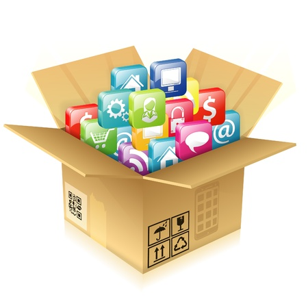 Open Cardboard Box with pile of icons illustration Vector
