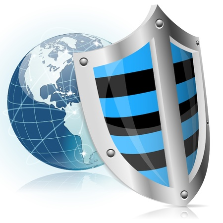 world security: Business concept - Shield protects Earth