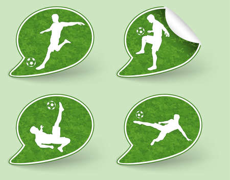 Collect Sticker with Silhouettes of Soccer Players in various Poses with the Ball Stock Vector - 13544469