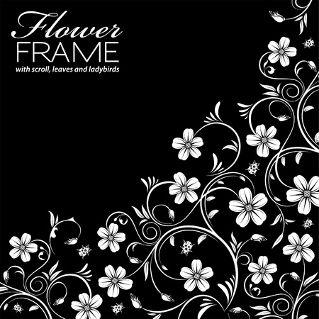 Floral Frame with Ladybird isolated on black background, vector illustration Vector