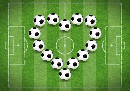 soccer fields: Football Field with Heart of Balls, vector illustration Illustration