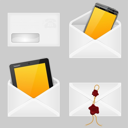 Set of Envelopes with Smart Phone, Tablet PC and Wax Seals, vector illustration Stock Vector - 13662749