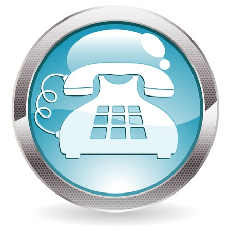 Three Dimensional circle button with telephone icon, vector illustration Stock Vector - 13662746