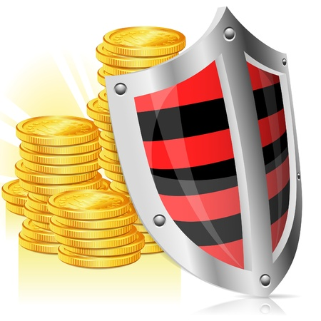 Business concept - Shield protects Money Stock Vector - 13823490