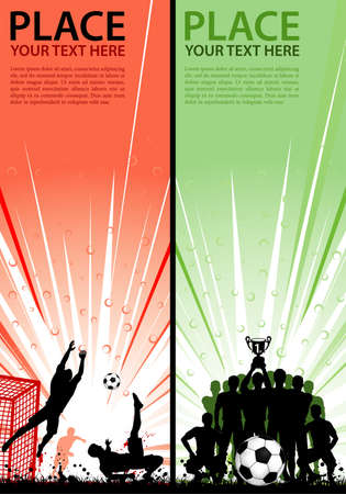 football players: Set Sport Flyers with Soccer Players, Goalkeeper and Team with Cup Illustration