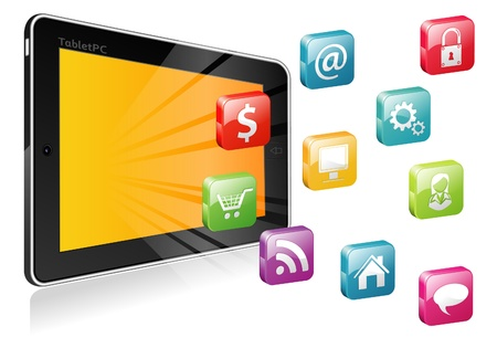 Tablet PC  with a blank place for icon and icon set Vector